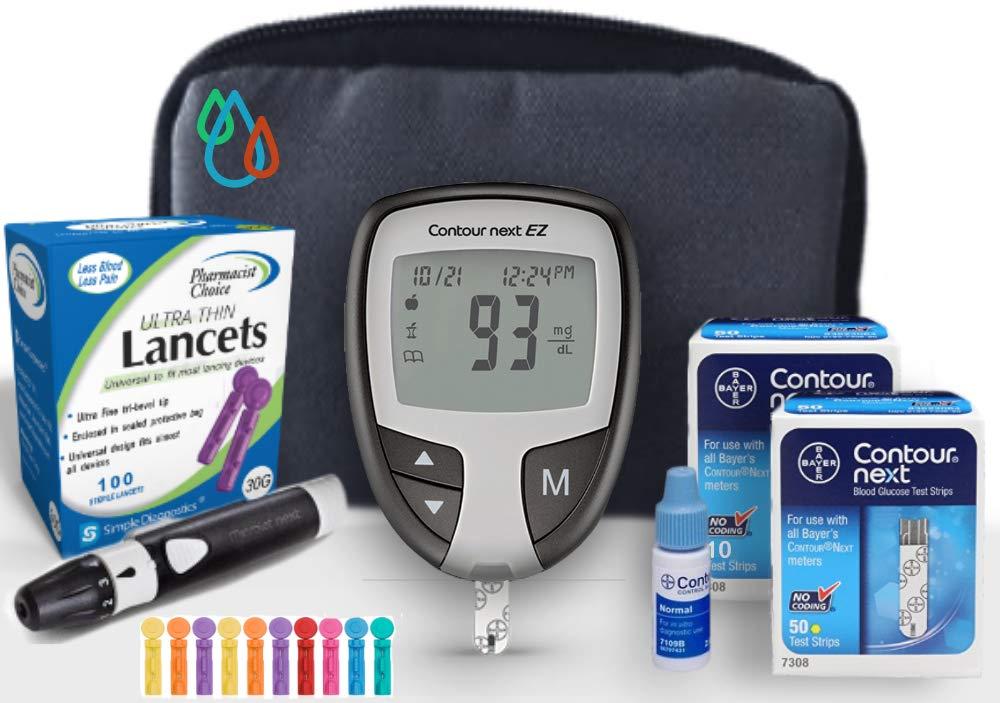 Raindrop USA - Bayer Contour NEXT EZ Complete Diabetes Blood Glucose Testing Kit: METER, Test Strips, Lancets, Lancing Device, Control Solution, & Carry Case (60 Test Strips, 110 Lancets)