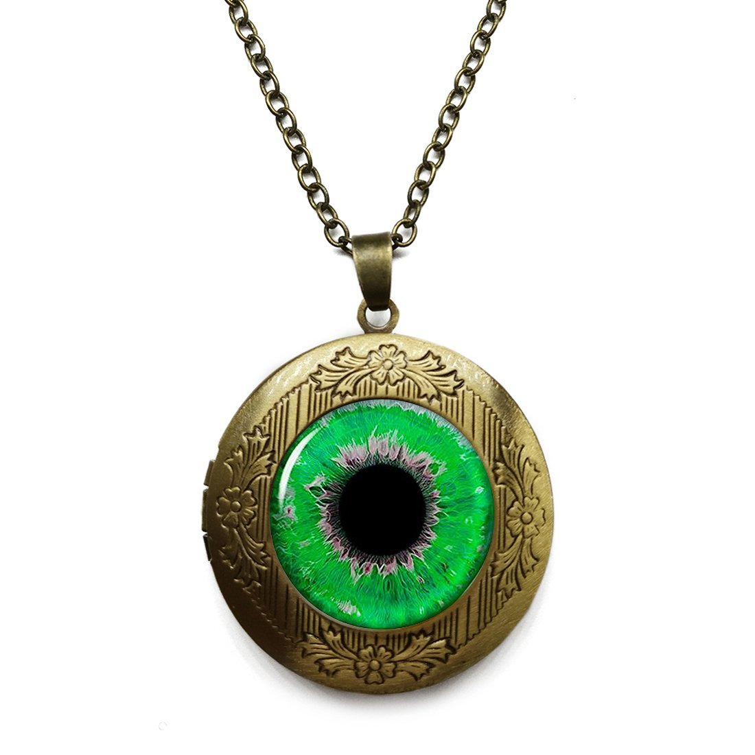 Vintage Bronze Tone Locket Picture Pendant Necklace Grass Green Eyeball Included Free Brass Chain Gifts Personalized