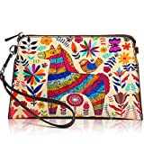 APHISON Women's Leather Zipper Wristlet Small Crossbody Bag Wristlet Clutch Purse, Includes Adjustable Shoulder and Wrist Straps, Wallets Cowhide Painting Card Clutch Holder Purse (4)