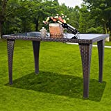 Tangkula Brown Patio Furniture Outdoor Garden Dining Rattan Wicker Coffee Table
