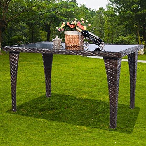 Tangkula Brown Patio Furniture Outdoor Garden Dining Rattan Wicker Coffee Table by Tangkula