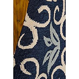 Nourison Caribbean (CRB02) Navy Rectangle Area Rug, 5-Feet 3-Inches by 7-Feet 5-Inches (5\'3\