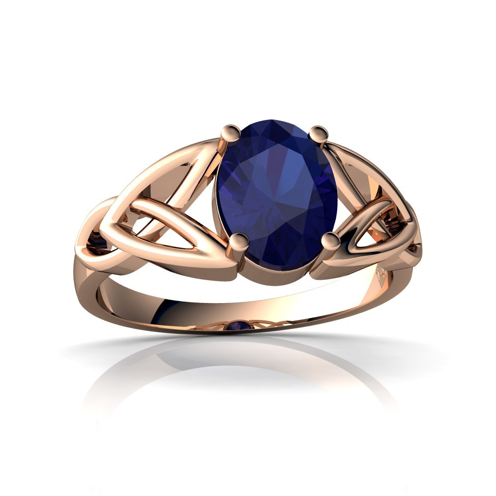 14kt Gold Lab Sapphire 8x6mm Oval Celtic Trinity Knot Ring Jewels For Me
