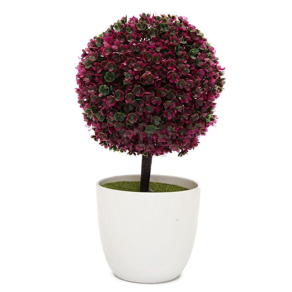 IVYRISE Artificial Plants Faux Potted Trees Decor Bonsai Flowers Topiary Plant w/White Planter Pots DQPLANT-green