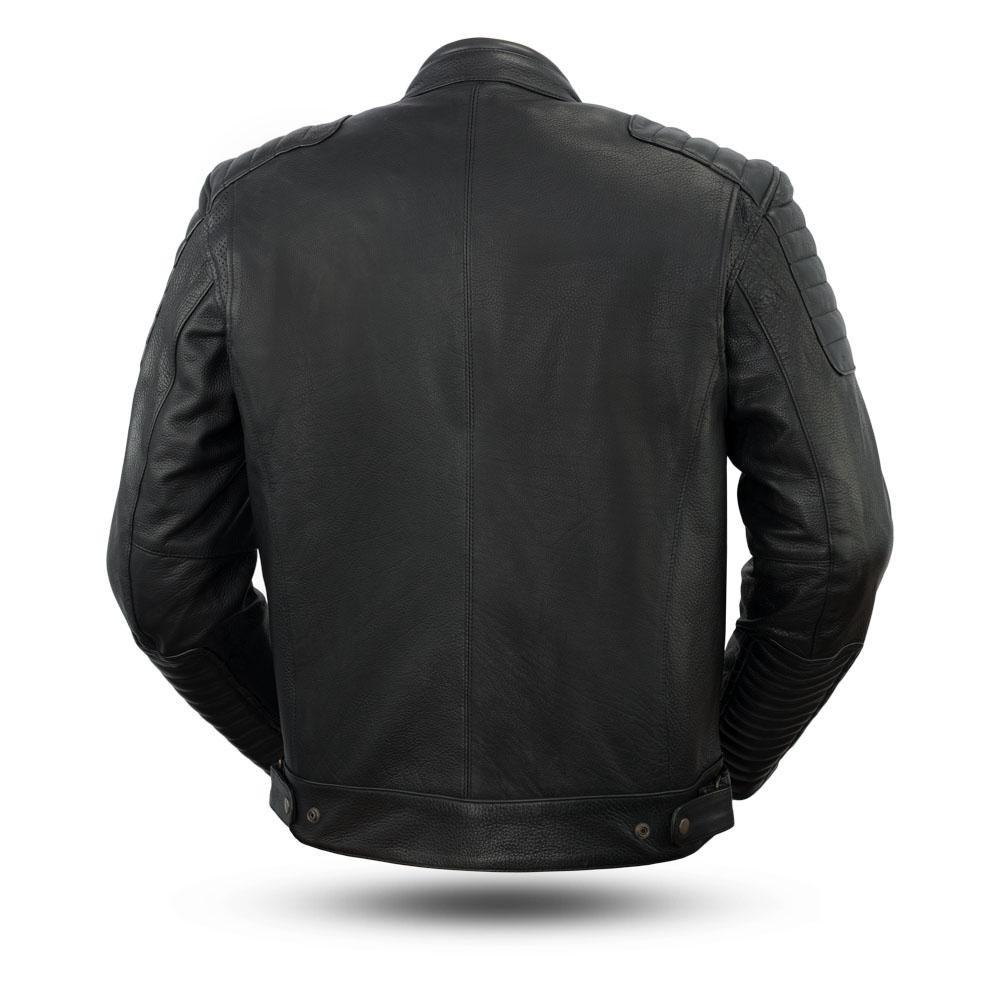 First Mfg Co Diamond Mens Leather Jacket Black Medium