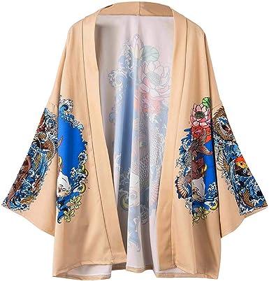 Hombre Mujer Camisa Kimono Hippie Cloak Estilo Japonés Estampado Holgado Manga 3/4 Cárdigan Chaqueta Capa Ropa Casual Abrigo Tops Blusa Floral Suelta Casual Boho Style Capas: Amazon.es: Ropa y accesorios