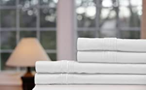 Bamboo Bed Sheets (White, Queen) Soft Bamboo Bedsheet 4 Set (Bed Sheet, Fitted Sheet, Pillowcases) - 100% Bamboo from Viscose, Warm in Winter and Cool in Summer