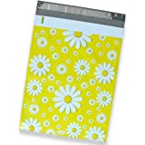 50 Pack of Mighty Gadget (R) Yellow Daisy Designer Poly Mailers - 10x13 inch Shipping Envelopes with 2.35 mil Thickness