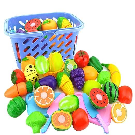 SmallPocket Juguete de Cocina Set Cortar Frutas Verduras Juguetes para Cortar Cocinas de Juguete de Corte para Bebé Niños 23pcs Juguete de Cocina ...