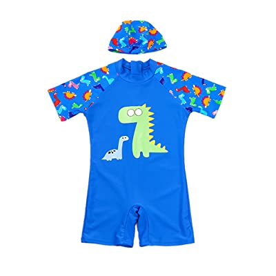 Gogokids Boys Short Sleeve Swimsuit Kids One Piece Swimwear and Swimming Cap Set Dinosaur
