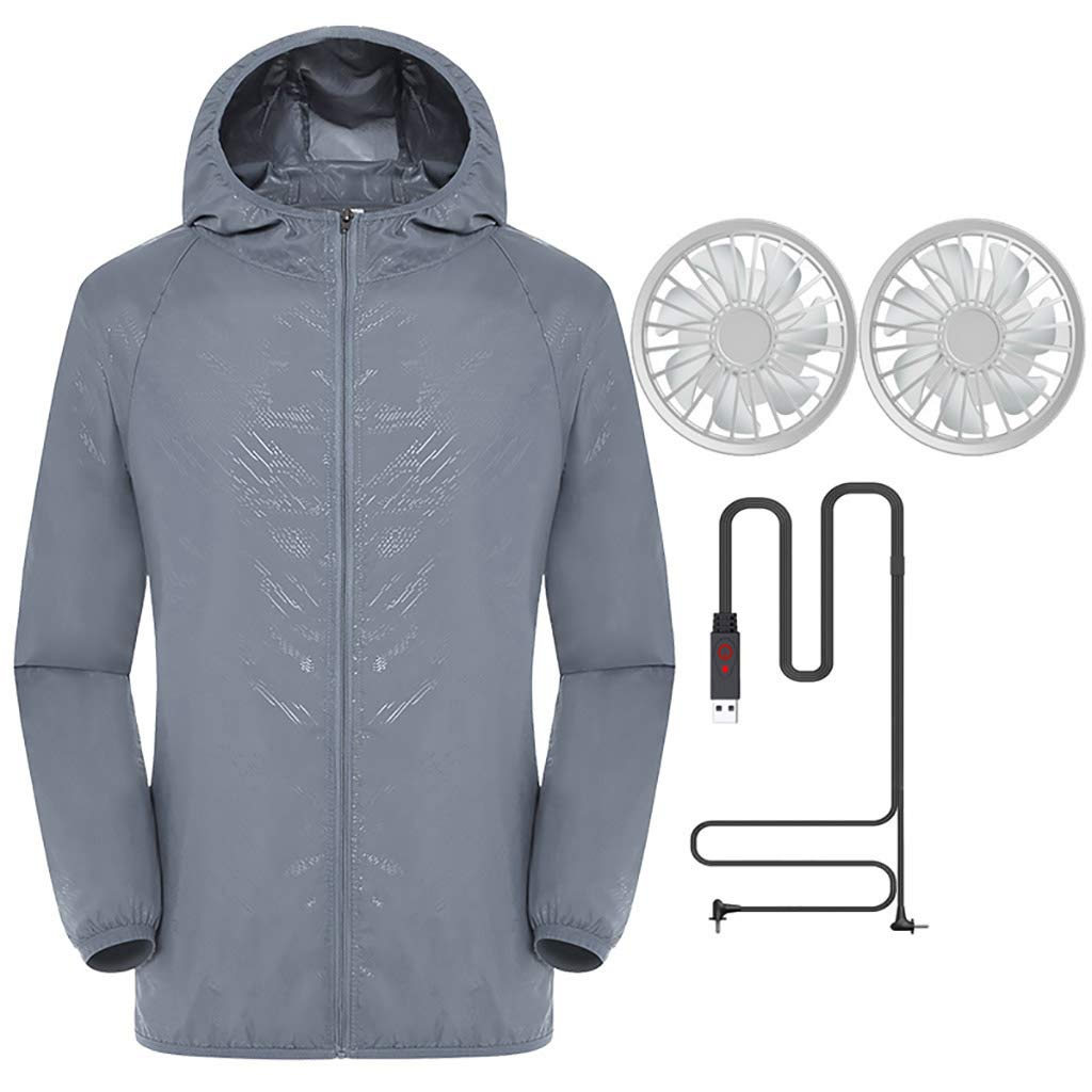Jacket with Fans,Men's Hooded Air-Conditioned Clothes Outdoors Sports Jacket and Zipper (S, Gray)