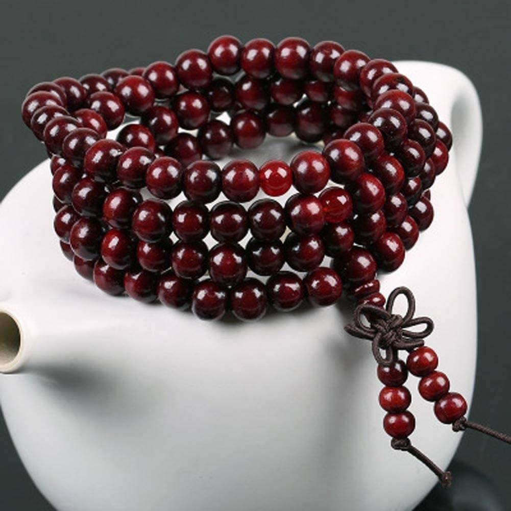 MLJSX Pulsera Perlas Calientes Pulsera Señora Regalo Joyería Folleto Palo de Rosa 108 Cuerda de Mano Bodhi