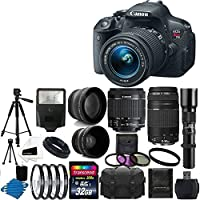 Canon EOS Rebel T5i 18.0 MP CMOS Digital Camera Body and EF-S 18-55mm F3.5-5.6 IS STM With Canon Zoom Telephoto EF 75-300mm f/4.0-5.6 III Autofocus Lens + Telephoto 500mm f/8.0 T- Mount Lens (Long) With 58mm 2x Professional Lens +High Definition 58mm Wide Angle Lens + Auto Flash + Uv Filter Kit with 32GB Complete Deluxe Accessory Bundle At A Glance Review Image