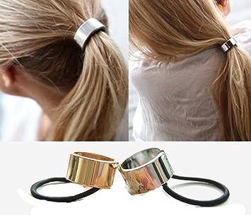 Cuhair® 2PC Punk Metal Round Motif queue de cheval support élastique  Cheveux Cravate Corde élastiques