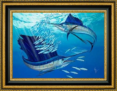 """Framed Canvas Print Wall Art Blue Heaven by Mark Ray - 14"""" x 20"""" Ready to Hang"""