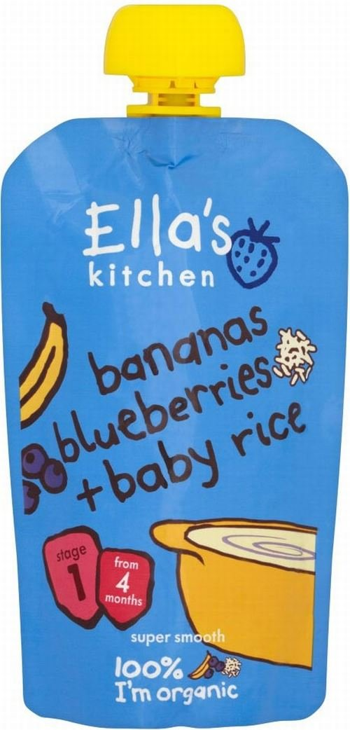 Ella's Kitchen Organic Bananas, Blueberries & Baby Rice (120g) - Pack of 6 Groceries