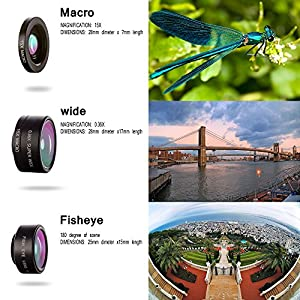 Cell Phone Camera Lens Kit, LS-PRO Best quality 3 in 1 Mobile Lens ,15x Macro Lens+0.36x Super Wide Angle Lens+180° Fisheye Lens for iPhone 7/6s/6s Plus/5S Samsung Galaxy, Android and All Smartphones.
