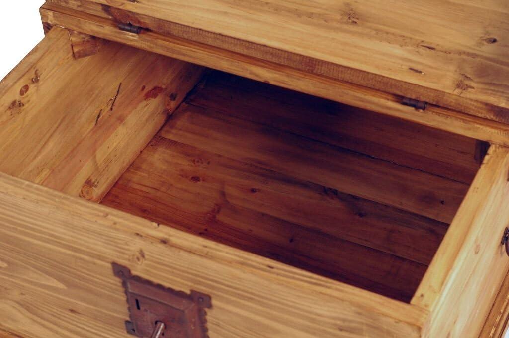 MiaM/öbel Truhentisch Mexico 80x40x80 cm Mexico M/öbel Landhausstil Massivholz Pinie Honig