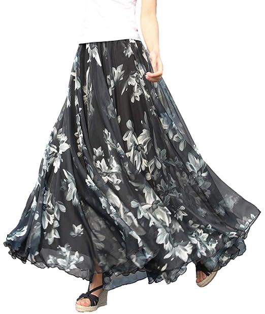 """cb20231b9d Femirah Women's Floral Chiffon Summer Beach Long Maxi Skirt (Length  80cm/31.5"""","""