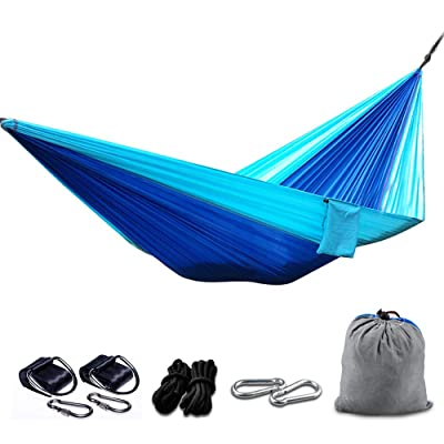 "BIAL Camping Hammocks 106"" L 57"" W Portable Nylon Lightweight Garden Hammocks with Tree Straps for Hiking, Backpacking,Travel, Beach, Yard, Patio,Backyard (Blue + Gray): Sports & Outdoors"