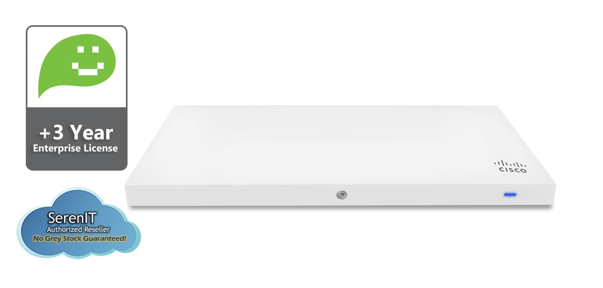 Cisco Meraki MR33 Quad-Radio 802.11ac Wave 2 Access Point, 1.3 Gbps, 802.3af PoE with 3 Years Enterprise License