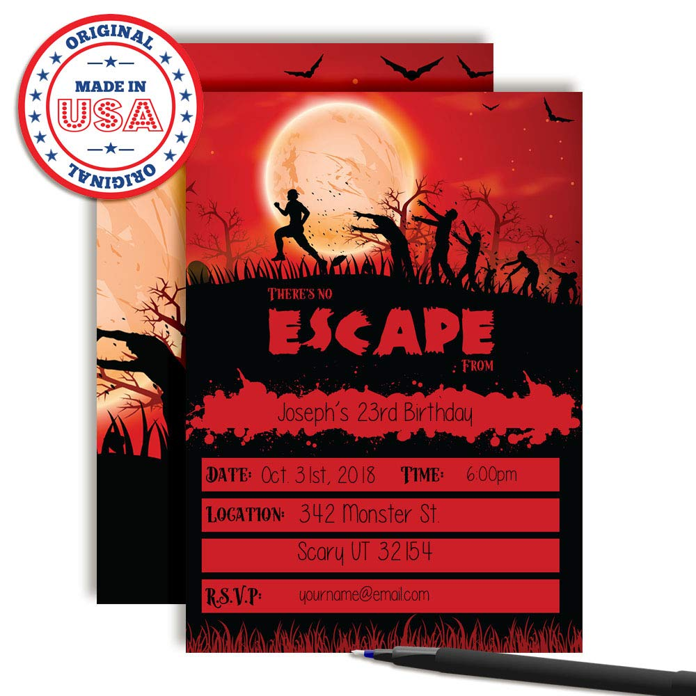 Amazon Zombie Attack Spooky Blood Red Moon Halloween Birthday Party Invitations 20 5x7 Fill In Cards With Twenty White Envelopes By AmandaCreation