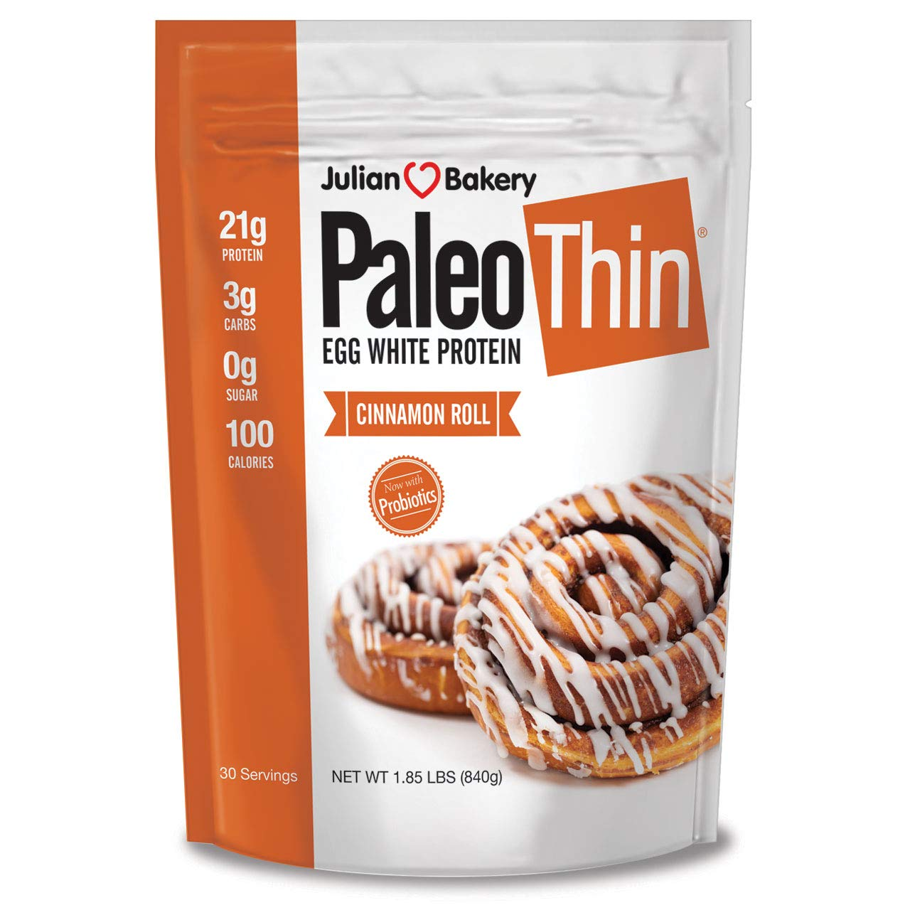 Paleo Protein Powder Cinnamon Roll (2 LBS Total)(30 Servings Total) (Keto/Low Carb) (Soy/GMO/Gluten Free) by Julian Bakery