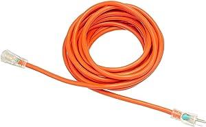 AmazonBasics 12/3 SJTW Heavy-Duty Lighted Extension Cord, 25-Foot, Orange, 4-Pack