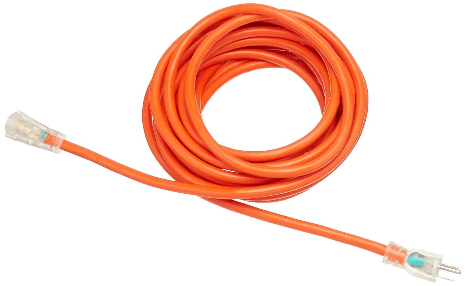 AmazonBasics 12/3 SJTW Heavy-Duty Lighted Extension Cord - 25 Feet (Orange)