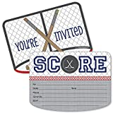 Big Dot of Happiness Shoots & Scores! - Hockey - Shaped Fill-In Invitations - Baby Shower or Birthday Party Invitation Cards with Envelopes - Set of 12
