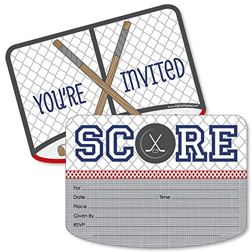 Big Dot of Happiness Shoots & Scores! - Hockey - Shaped Fill-In Invitations - Baby Shower or Birthday Party Invitation Cards with Envelopes - Set of 12 by Big Dot of Happiness