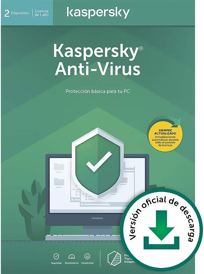 Kaspersky Anti-Virus 2020 | 2 PCs | 1 Año | PC | Código de activación vía correo electrónico: Amazon.es: Software