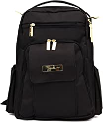 JuJuBe Be Right Back Multi-Functional Structured Backpack/Diaper Bag, Legacy Collection - The Monarch - Black