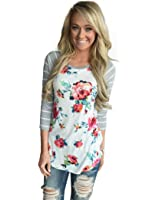 Hot Sale! Autumn Blouse,Canserin Womens Casual Floral Splice Stripe Printing T-Shirt Tops Round Neck Pullover