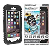 Action Case waterproof iPhone 6 Plus Case w/ Snow, Dirt, Dust, Mud, Sand, Weather, & Shock Proof construction, Adjustable Neck Strap, & Locking Seal Tested at IP68 Standards (Basic Black) by Rebelite