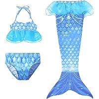 Sirena Bañador, 3pcs Bikini Set Niñas Cosplay Verano Playa Traje de Baño Disfraz de Princesa