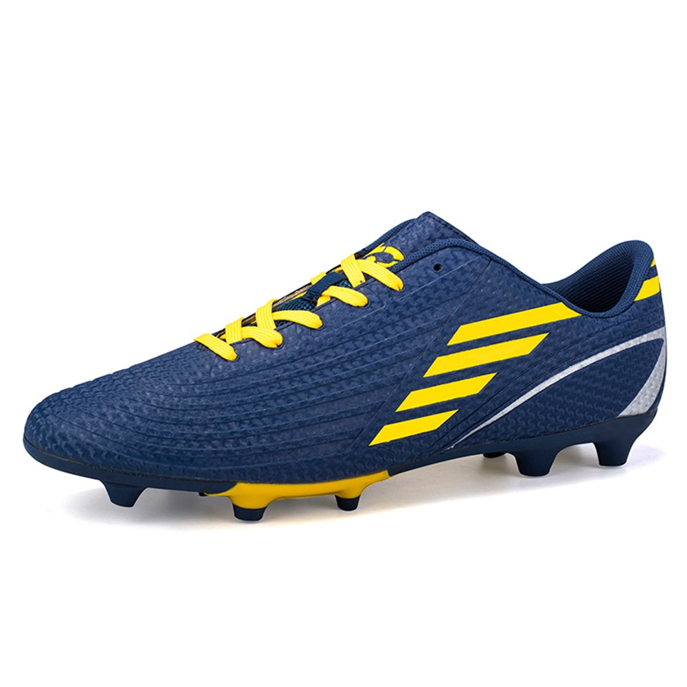 Gungun Adult Athletic Cleats Lace up Soccer Shoes Outdoor, 6 US Size, Dark Blue