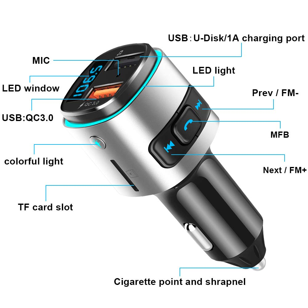 FM Transmitter for Car,FLY5D Bluetooth FM Transmitter Car Dual Charge Wireless Car Radio Audio Adapter with Handsfree Car Kit ,Bluetooth Transmitter for iPhone,iPad,Samsung