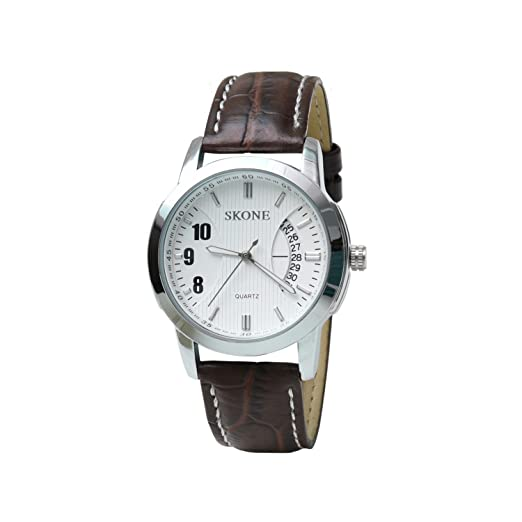 11f20b506 Buy Skone 9108-man-4 Analog White Dial Leather Strap Wrist Watch   Casual  Watch - For Men s Online at Low Prices in India - Amazon.in