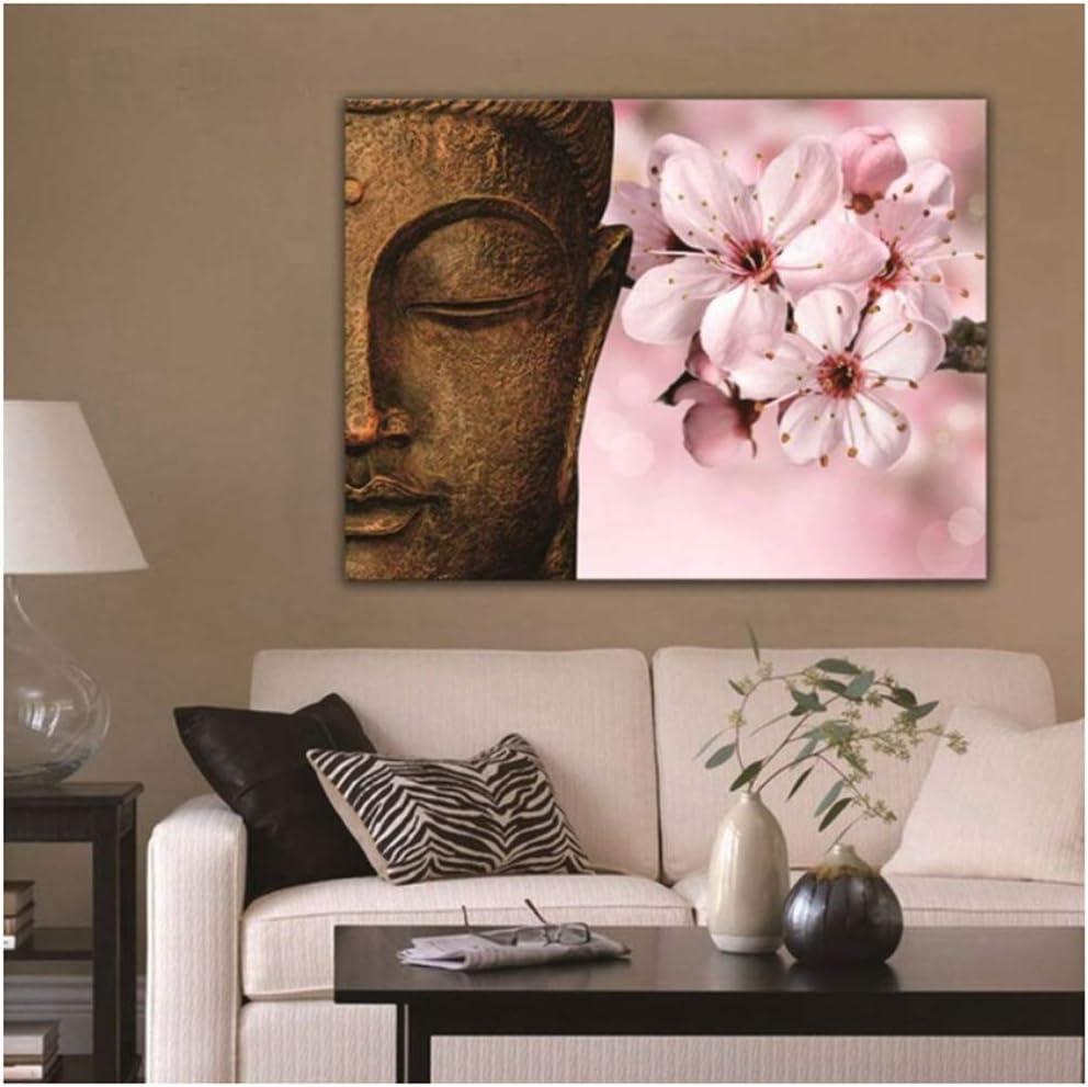 Buda piedra lienzo pinturas sala de estar decoración del hogar cuadros abstractos arte de la pared flor de durazno monje budista cartel -23x35 pulgadas sin marco