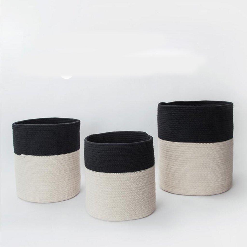 Xuan - Worth Another Baumwollfaden Schwarz-Weiß-Ablagekorb Schmutzige Kleidung Korb Schmutzige Kleidung Eimer Aufbewahrungsbox Spielzeugbox Rattan (größe   Small)