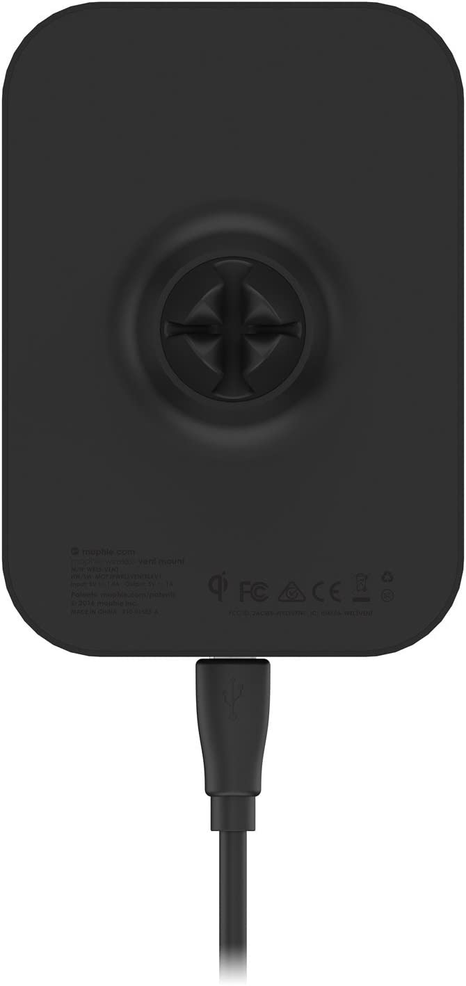 mophie Wireless Charging Car Vent Mount for mophie cases with Charge Force wireless power Black