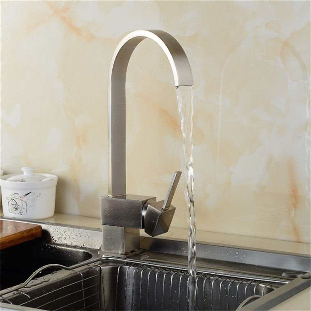 Gyps Faucet Basin Tap Faucet  The copper lead-free brushed kitchen dish washing basin faucet single hole cold and hot water mixing valve water faucet tap water-saving environmental predection.