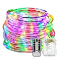 LED Rope Lights Battery Operated Waterproof 33ft String Lights with Remote Timer YIHONG 8 Mode Dimmable Fairy Lights For Outdoor Indoor Home Decoration Multi-Color