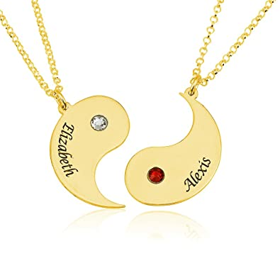405e99410ca02 Amazon.com: Engraved Yin Yang 2 Pieces Necklace - Custom Made with 2 ...