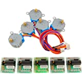 WYPH DC 5V Stepper Motor 28BYJ-48 With ULN2003 Driver Test Module Board 4-Phase 5-Line Pack of 5 Sets