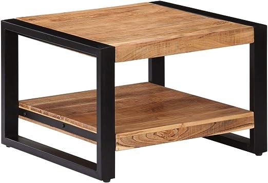 vidaXL Akazienholz Massiv Couchtisch mit 1 Fach Retro Wohnzimmertisch Beistelltisch Kaffeetisch Sofatisch Holztisch Tisch 60x60x40cm Eisenrahmen