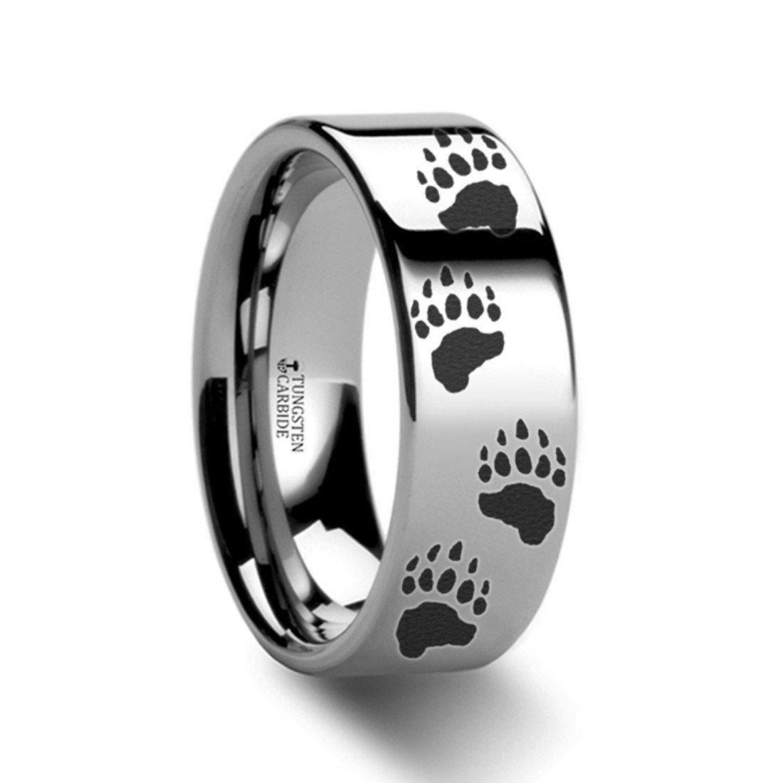 Thorsten Bear PAW Animal Track Bear Paw Print Ring Tungsten Ring Polished 6mm Wide Wedding Band from Roy Rose Jewelry