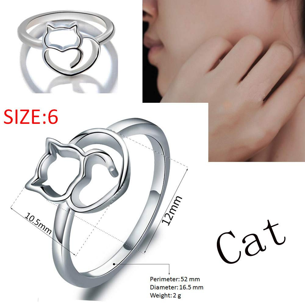 WoCoo Cat Rings Women Silver Rings Kitty Rings for Girls Valentine/'s Day Birthday Gifts for Her(Silver,Size9)