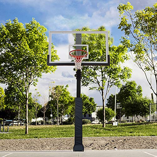 PROGOAL Professional In-Ground Height Fixed Basketball Hoop System with 60'', 72'' Clear View Tempered Glass Backboard,Pro-Style Breakaway Rim,Pole and Backboard Pad (60'')